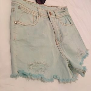 SZ 02 Zara light mint green jean shorts